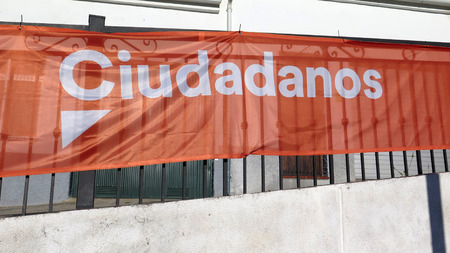 Alora, Spain - April 27, 2019: Election poster for 2019 Spanish election on Sunday April 28th 2019 on behalf of the Citizen party.