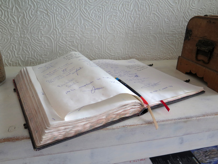 Guest book on shelf in Tarifa restaurant, Andalusia