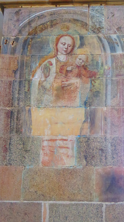 Faint religious drawing on wall in Ribe cathedral, southern Denmark Editorial
