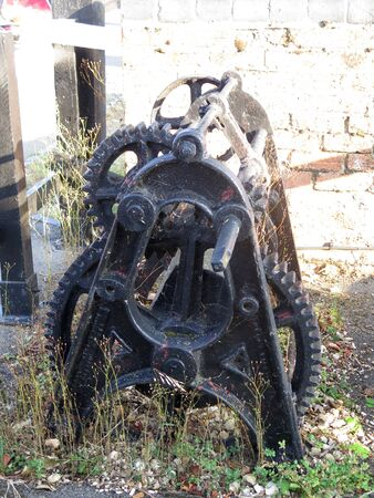 Old winch gear from Grand Union Canal lock in Northhampton shire village of Stoke Bruerne