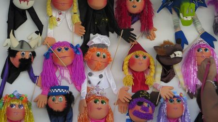 Colorful handmade puppets on display at local fair inAndalusan village