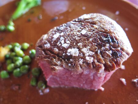 Half eaten rare fillet steak with corse salt on brown plate in Andalusian restaurant
