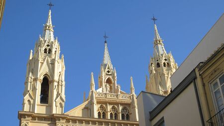 Detail of outside decorations of famous Malaga Sacred Heart church on sunny October day 版權商用圖片
