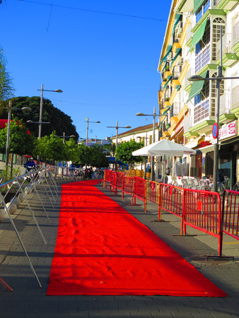 Alora, Spain - October 27, 2019: Red carpet ready for decathlon partiscpants  in Andalusian village