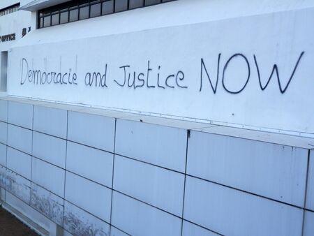 Hong Kong, East Asia - November 15, 2019: Writing on wall from recent Hong Kong protests