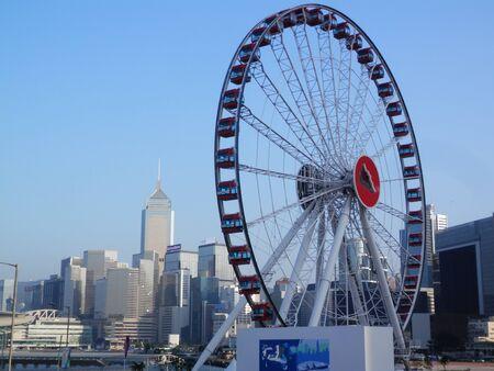 Large ferris wheel on Hong Kong waterfront Foto de archivo