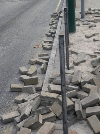 Paving stones ripped out in Aftermath of Hong Kong riots