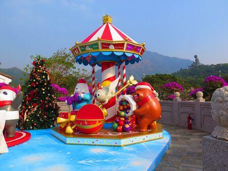 Christmas decoration in Ngong Ping village on Lantau Island, Hong Kong