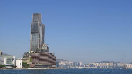 Hong Kong, East Asia - November 22, 2019: View of tall Hong Kong Skyscraper against blue November sky Stockfoto