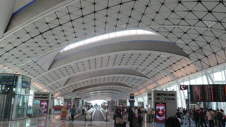 Hong Kong, East Asia - November 26, 2019: Hall Of Hong Kong International Airport