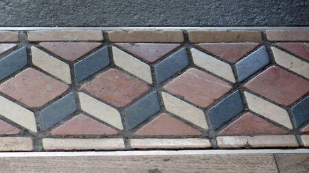 Three dimentiol floor tile border design in Hong Kong Victoria Peak restaurant Stock Photo
