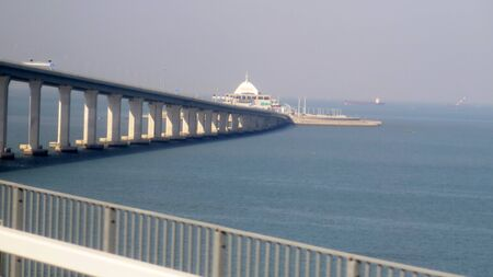 The Bridge connecting Zhuhai to Hong Kong and Macau of China. It is both the longest sea crossing and the longest open-sea fixed link on earth