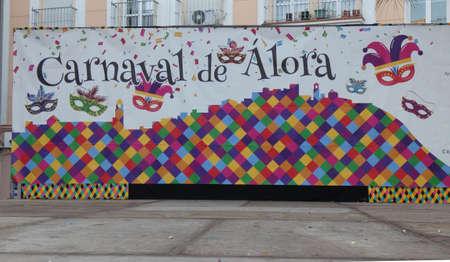 Alora, Spain - February 23, 2020: Large backdrop in village square to celebrate annual carnival