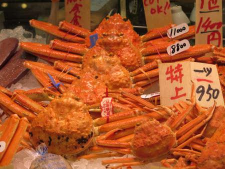 Kyoto, Japan - November 29, 2019:  Fresh snow crab for sales in indoor market
