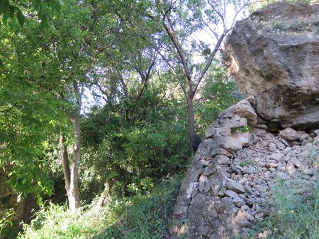 Country trail through wild rocky hills in rural Andalusia