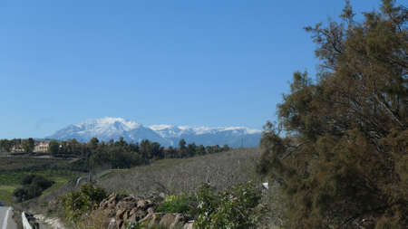 January snow on distant mountains in national park south of Alora, Andalusia