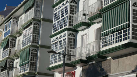 Apartment block front elevation with glass enclosed balconies Archivio Fotografico