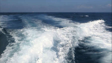 Keel water seen from whale watching fast boat in Strait of Gibraltar, Andalusia Archivio Fotografico