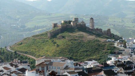 Arabic castle among white houses in village of Alora Andalusia Stockfoto
