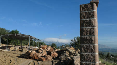 Rural construction site with a view over Andalusian valley Archivio Fotografico