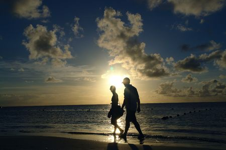 sun set the caribbean and a couple                               photo