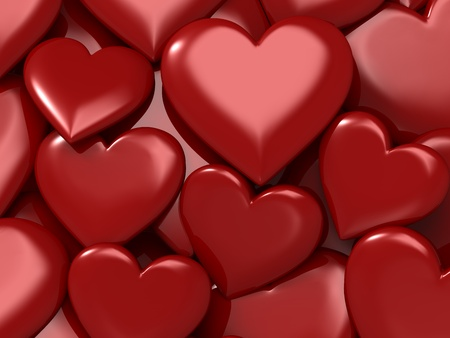 Glossy red hearts. Good for love, valentine, romance and couple concept photo