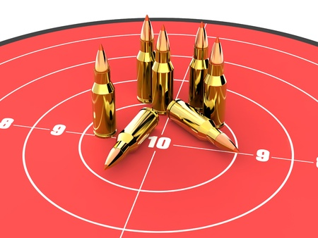 firing: Bullets on the top of red target. Good for military, guns and ammunition concept