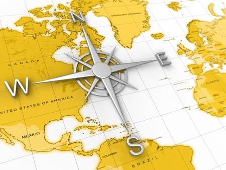 世界地図上のコンパスのビューを閉じます。旅行、探検、地理学の概念のために良い