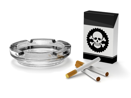 ashtray: Stop smoking campaign. Good for smoking, addiction, health and tobacco concept Stock Photo