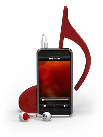 earbud: Music player with earphones and red music note. Good for music, phones, electronic devices, telecommunication and technology concept