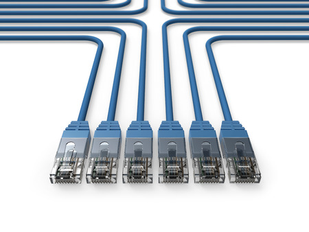 Networking, Network cables, LAN cables Stock Photo