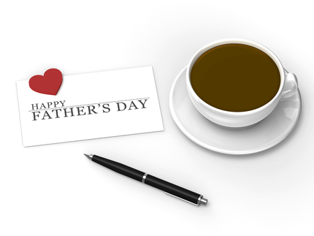 Happy Fathers Day message with pen and coffee
