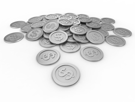 Coins with dollar sign, money, business
