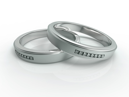 silver jewelry: Silver with diamonds wedding rings, love, couple, jewelry Stock Photo
