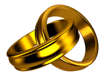Gold wedding rings, jewelry, love, couple Stock Photo