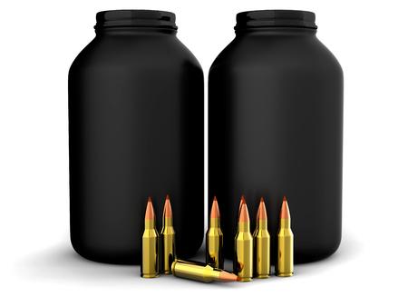 Bullets with gun powder, ammo, ammunition