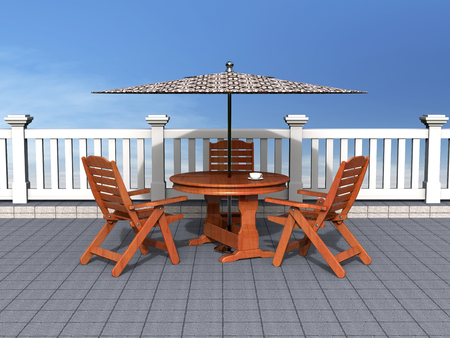 Outdoor patio with chairs and table Stock Photo
