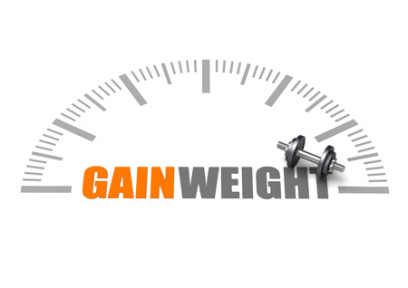 Gain weight text with dumbbell and weight scale
