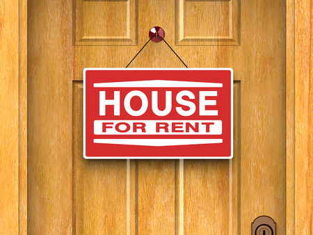buy house: House for rent sign on door, real estate, advertisement