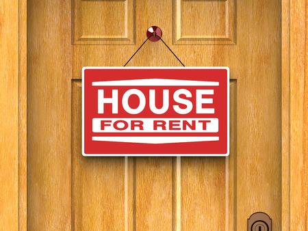 Huis te huur bordje op de deur, onroerend goed, reclame