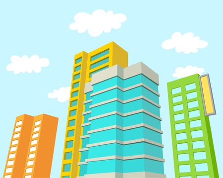 art vector: Buildings with blue sky and clouds