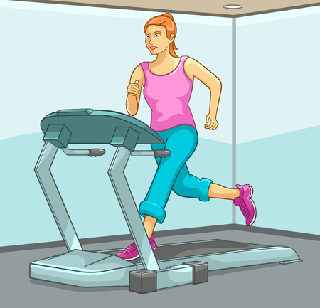 cardio workout: Female Running on Treadmill, Fitness, Beauty, Sports and Exercise Illustration