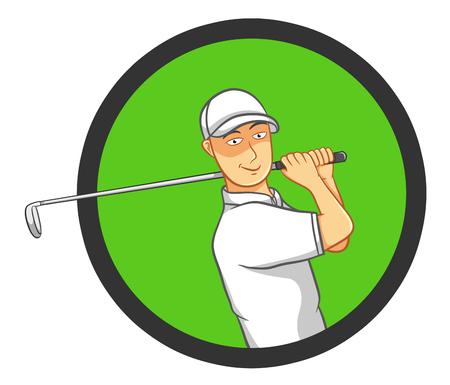 golfer swinging: Male Golf Player