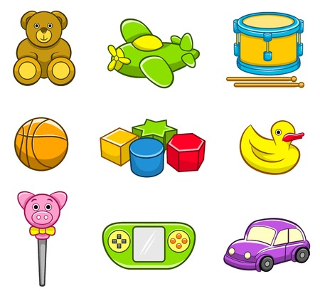 Toys Icon Set, kids, gifts, childhood