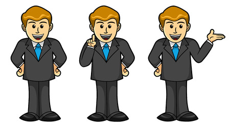 Male character in different poses, Business, Cartoon Illustration