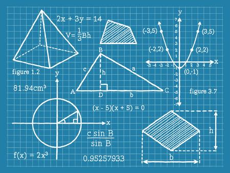 数学、代数学、幾何学、三角法  イラスト・ベクター素材