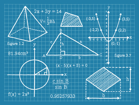 Matemáticas, Álgebra, Geometría, Trigonometría Foto de archivo - 46084278