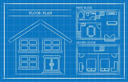 Blauwdruk, Plan van het Huis, Architectuur Stockfoto - 46325833