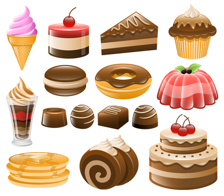 vanilla pudding: Dessert Icon Set, Sweets, Confectionery Illustration