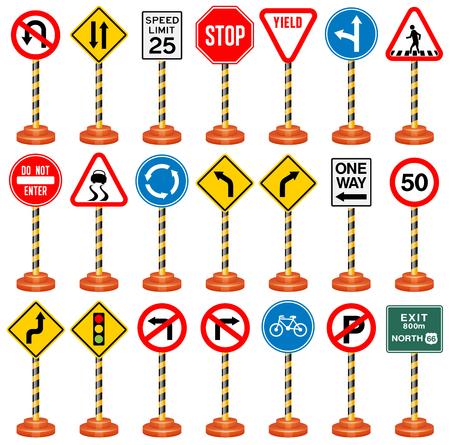 道路標識、交通標識、交通、安全、旅行します。  イラスト・ベクター素材